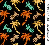seamless pattern with palm... | Shutterstock .eps vector #1012174309