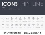 set of china thin line vector... | Shutterstock .eps vector #1012180645