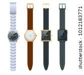 time on a wrist watch. vector... | Shutterstock .eps vector #1012183771