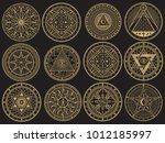 golden mystery  witchcraft ... | Shutterstock .eps vector #1012185997