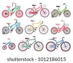 urban family bikes flat vector... | Shutterstock .eps vector #1012186015
