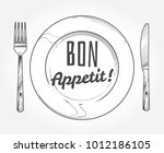 dinner plate with knife and... | Shutterstock .eps vector #1012186105