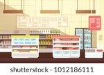 modern super market empty... | Shutterstock .eps vector #1012186111