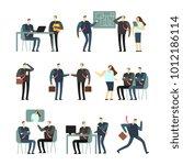 working people vector cartoon... | Shutterstock .eps vector #1012186114