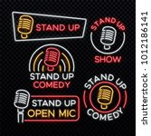 stand up comedy bright neon... | Shutterstock .eps vector #1012186141