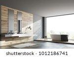 wooden and dark gray bathroom... | Shutterstock . vector #1012186741