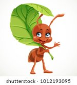 cute cartoon ant uses green... | Shutterstock .eps vector #1012193095