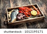 Seafood In An Old Tray. On A...