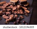 broken chokolate bars and... | Shutterstock . vector #1012196305