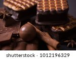 broken chokolate bars and... | Shutterstock . vector #1012196329