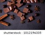 broken chokolate bars and... | Shutterstock . vector #1012196335