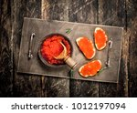 sandwiches with red caviar. on... | Shutterstock . vector #1012197094