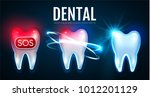 tooth treatment process with... | Shutterstock .eps vector #1012201129