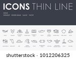 set of miami thin line vector... | Shutterstock .eps vector #1012206325