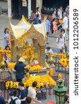 Small photo of Bangkok, Thailand - January 27, 2018 : Erawan shrine on January 27, 2018.Worshipers make a merit at Erawan shrine. Erawan shrine,house to the The four-faced Brahma statue
