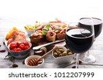 italian antipasti wine snacks... | Shutterstock . vector #1012207999