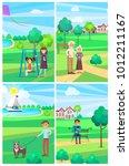 people relaxing in summer park... | Shutterstock . vector #1012211167