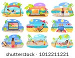 distant work and freelance... | Shutterstock . vector #1012211221