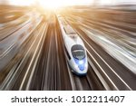 high speed passenger train... | Shutterstock . vector #1012211407