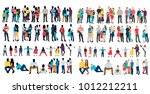 isolated silhouette set of... | Shutterstock .eps vector #1012212211
