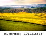 Small photo of Val d 'Arbia, Tuscany, Italy April 14, 2017. Hills cultivated with wheat and canola, with its yellow flowers. With background the Crete Senesi. Siena, Italy