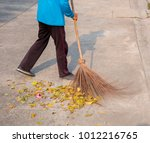 Small photo of Sweep the leaves, sweep people, clean the garden labor