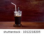 ce coffee in a tall glass  on a ... | Shutterstock . vector #1012218205