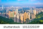 hong kong city skyline with... | Shutterstock . vector #1012220239