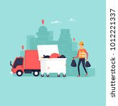 garbage collection in the city  ... | Shutterstock .eps vector #1012221337