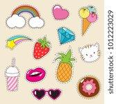 cartoon fashionable vector girl ... | Shutterstock .eps vector #1012223029