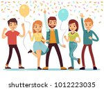 laughing and dancing young... | Shutterstock .eps vector #1012223035