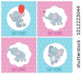Stock vector baby shower invitation cards with cute cartoon elephants vector set baby shower banner funny 1012223044