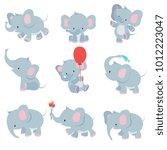 Stock vector cute cartoon baby elephants animals african safari animals vector set elephant african cartoon 1012223047