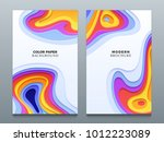 abstract color paper cutting... | Shutterstock .eps vector #1012223089