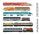 railroad passenger trains and... | Shutterstock .eps vector #1012223155