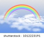 rainbow arc with white clouds... | Shutterstock .eps vector #1012223191