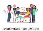 boy with tie and girl with rose ... | Shutterstock .eps vector #1012250641