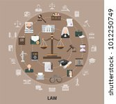 law icons set of flat isolated... | Shutterstock .eps vector #1012250749