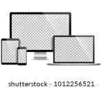 realistic set of monitor ... | Shutterstock .eps vector #1012256521