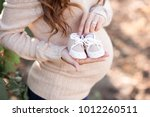 pregnant woman holding baby... | Shutterstock . vector #1012260511