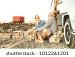 hipster couple with cute dog... | Shutterstock . vector #1012261201