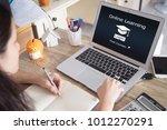 online learning concept.female... | Shutterstock . vector #1012270291