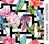 watercolor bird feather pattern ... | Shutterstock . vector #1012272031