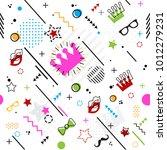 trendy seamless  memphis style... | Shutterstock .eps vector #1012279231