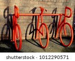 modern red bicycle rack outside ...   Shutterstock . vector #1012290571