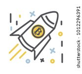 bitcoin icon in modern thin... | Shutterstock .eps vector #1012296391