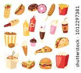 fast food vector nutrition... | Shutterstock .eps vector #1012297381