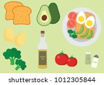 avocado toast with poached egg... | Shutterstock .eps vector #1012305844