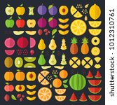 fruits flat icons set. colorful ... | Shutterstock .eps vector #1012310761
