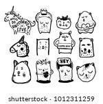 big set of vector cute doodles... | Shutterstock .eps vector #1012311259